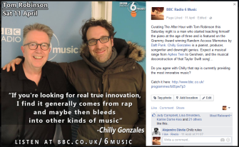 For The Tom Robinson Show; Featuring an extended interview with Chilly Gonzales