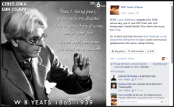 For Cerys On 6; remembering the life of the poet W B Yeats