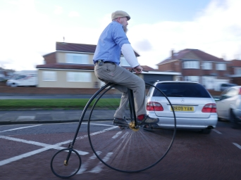 Unknown penny farthing rider, Tynemouth